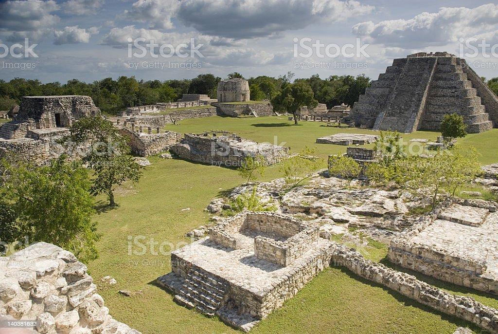 Mayapan ruin site stock photo