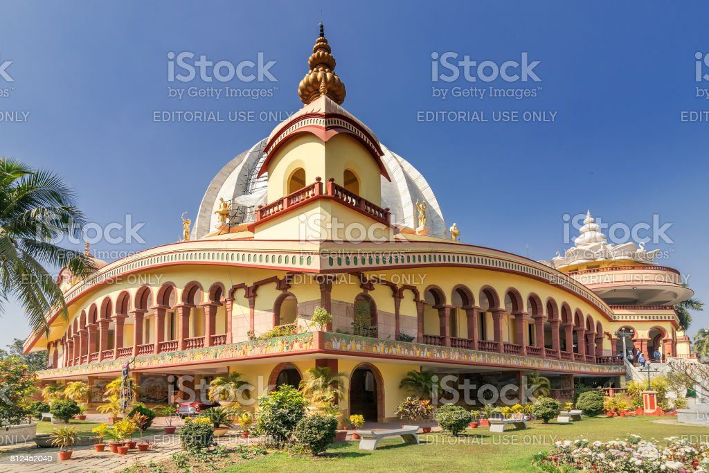 Mayapur temple , ISKON headquarter. stock photo