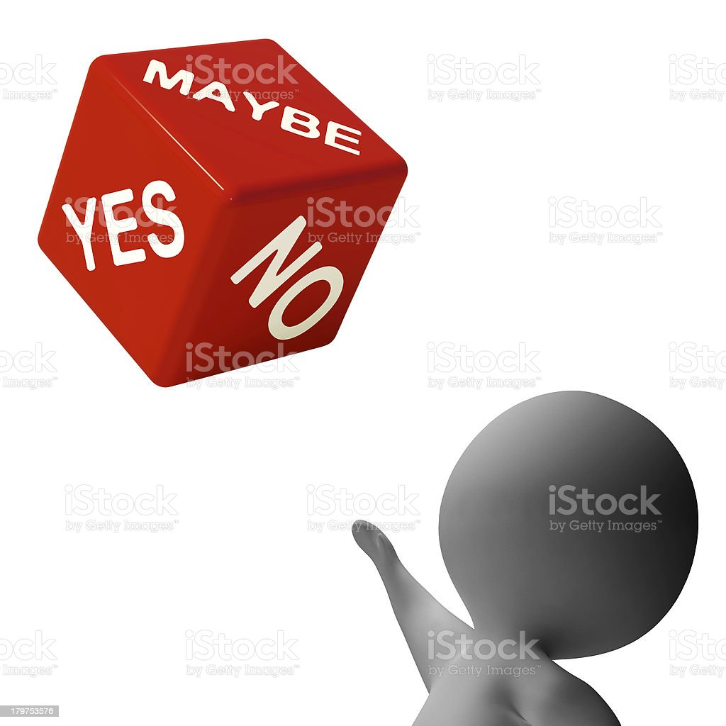 Maybe Yes No Dice Shows Uncertainty And Decisions royalty-free stock photo