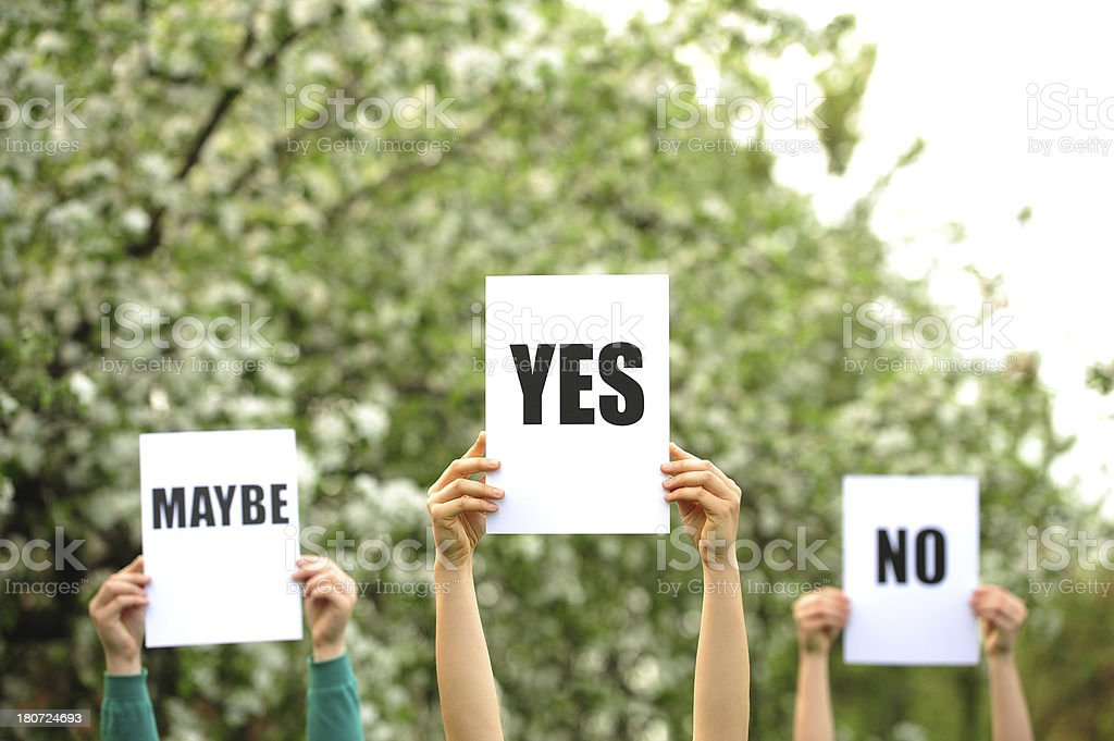 Maybe,yes, no royalty-free stock photo