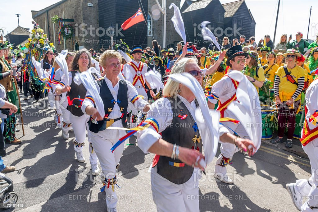 Mayday Morris Dancers in Jack in the Green procession stock photo