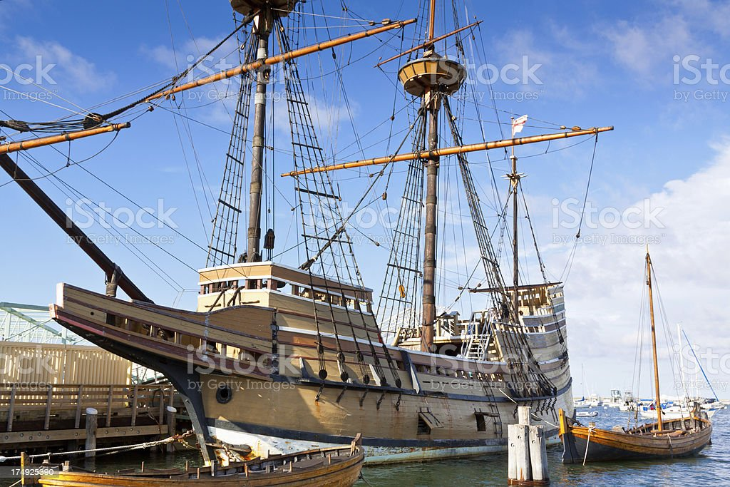 Mayflower II replica, Plymouth, Massachusetts, USA. Clear blue sky, clouds. royalty-free stock photo