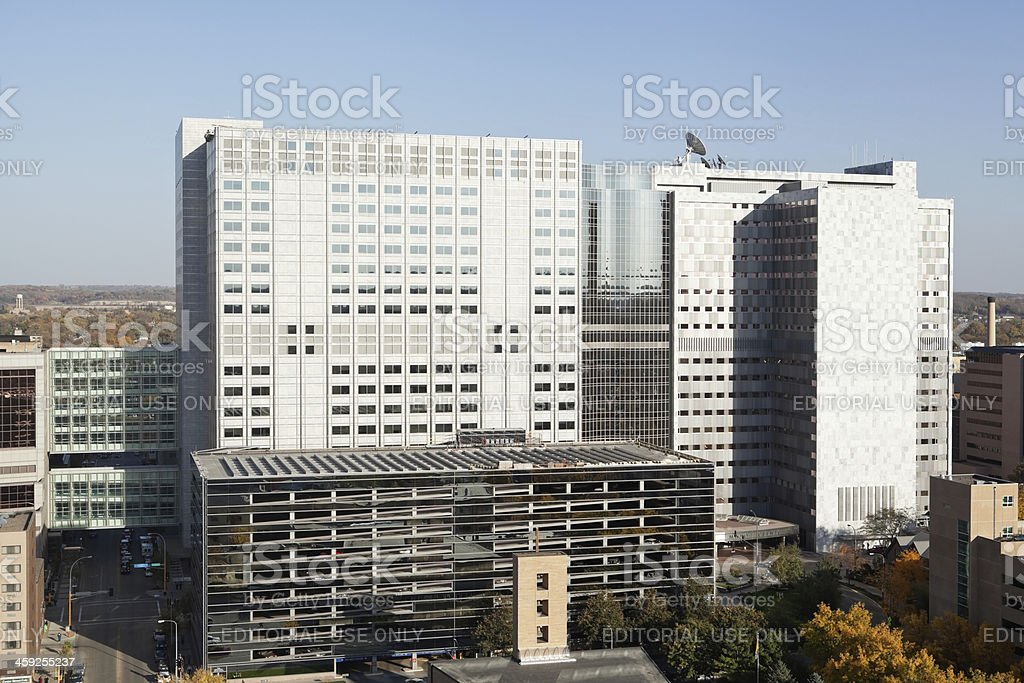 Mayo Clinic and Gonda Buildings, Downtown Rochester, Minnesota stock photo