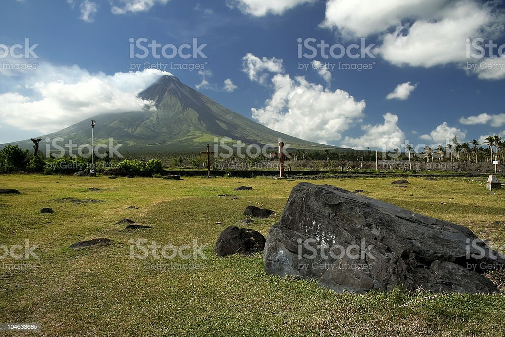 mayon volcano church ruins philippines royalty-free stock photo