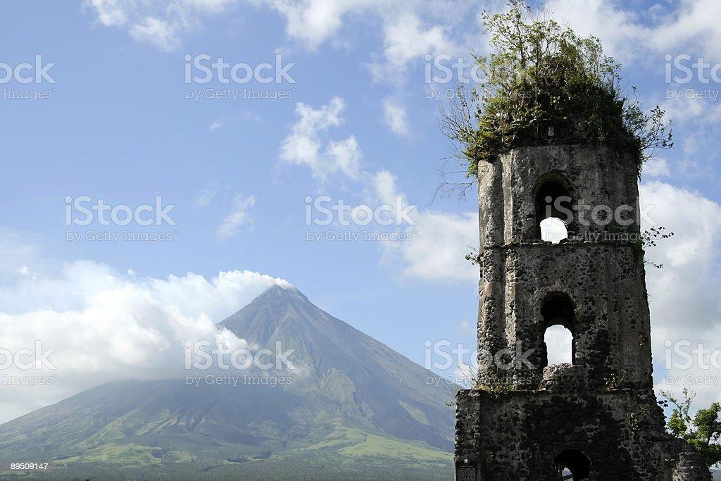 mayon volcano church ruins philippines stock photo
