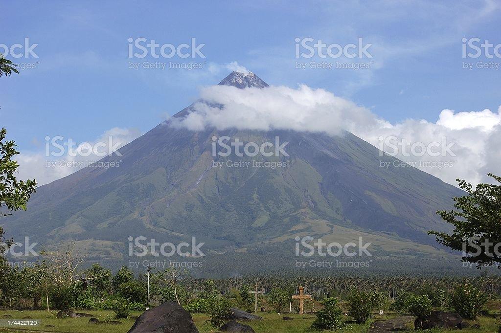 Mayon volcano perfect cone, Philippines stock photo