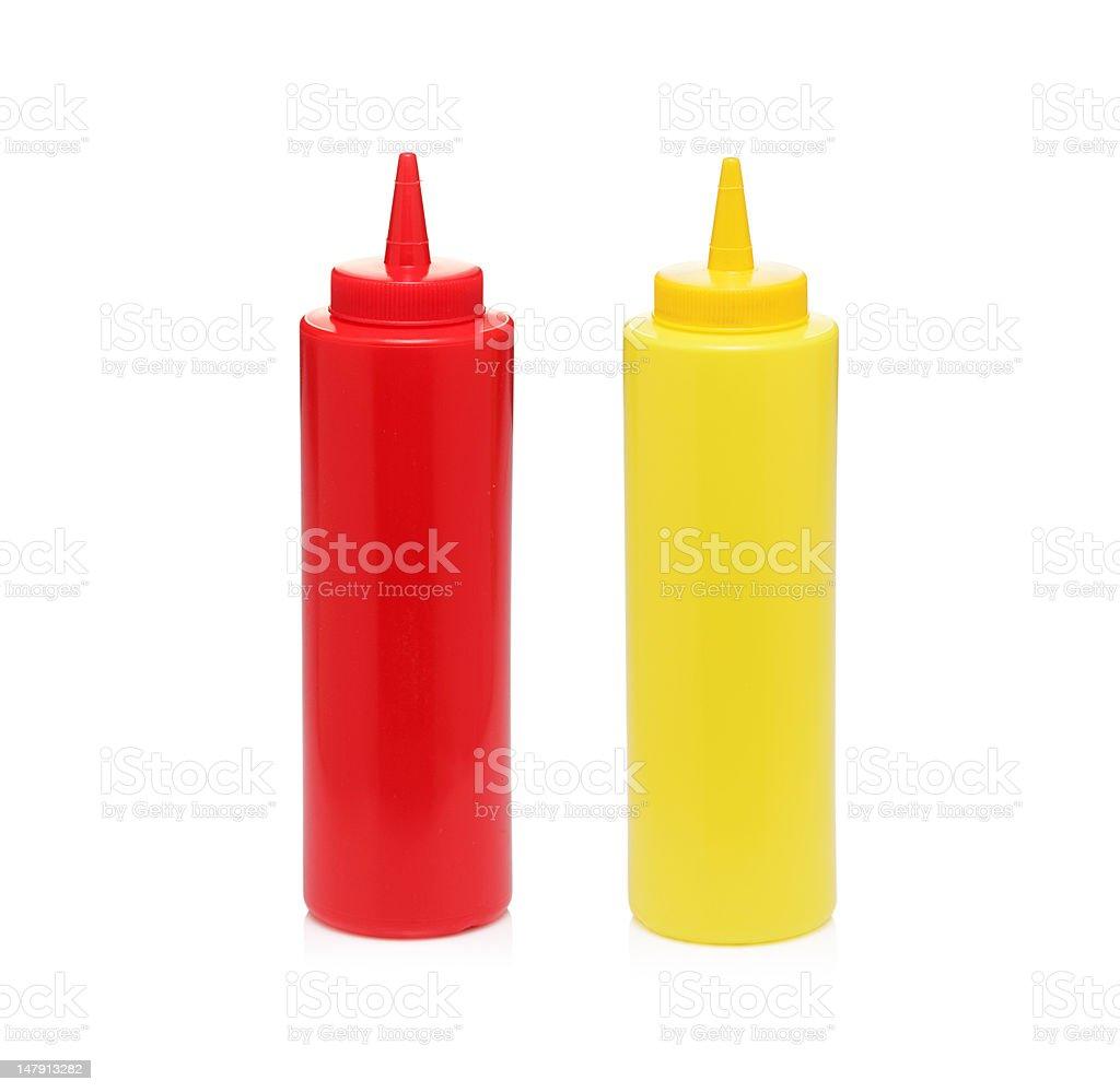 Mayonnaise and tomato ketchup bottles stock photo