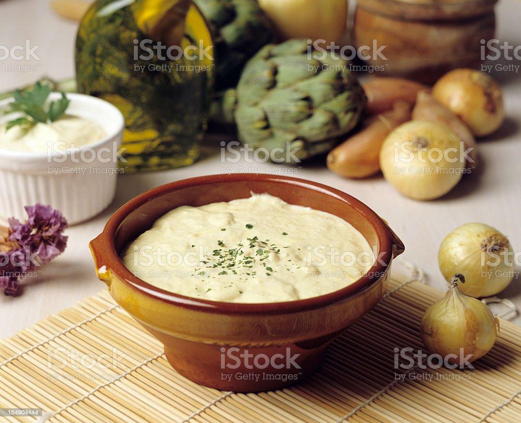 Mayonnaise artichokes stock photo