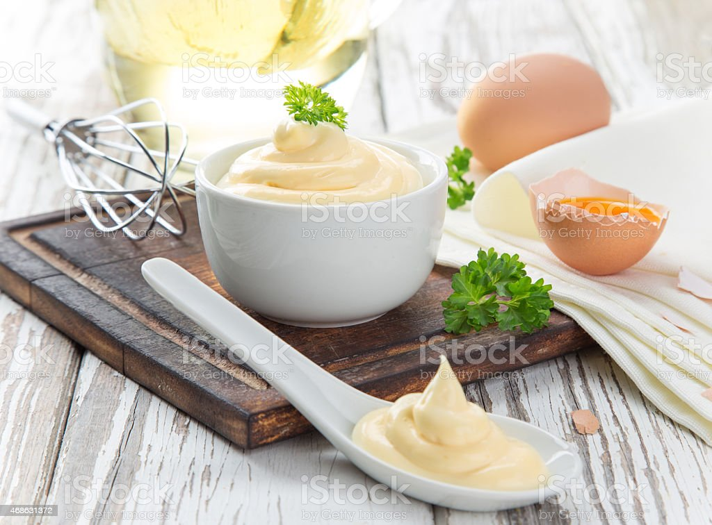 Mayonnaise in bowl stock photo