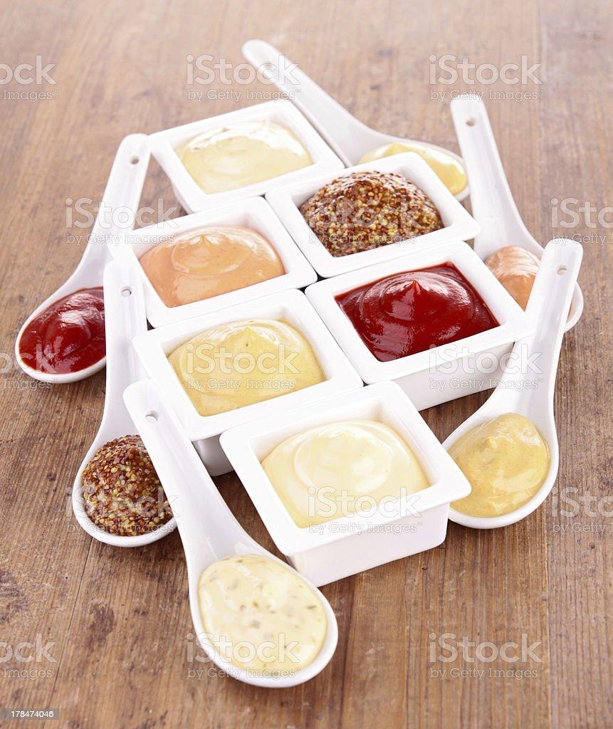 mayonnaise,ketchup,mustard and other sauce stock photo