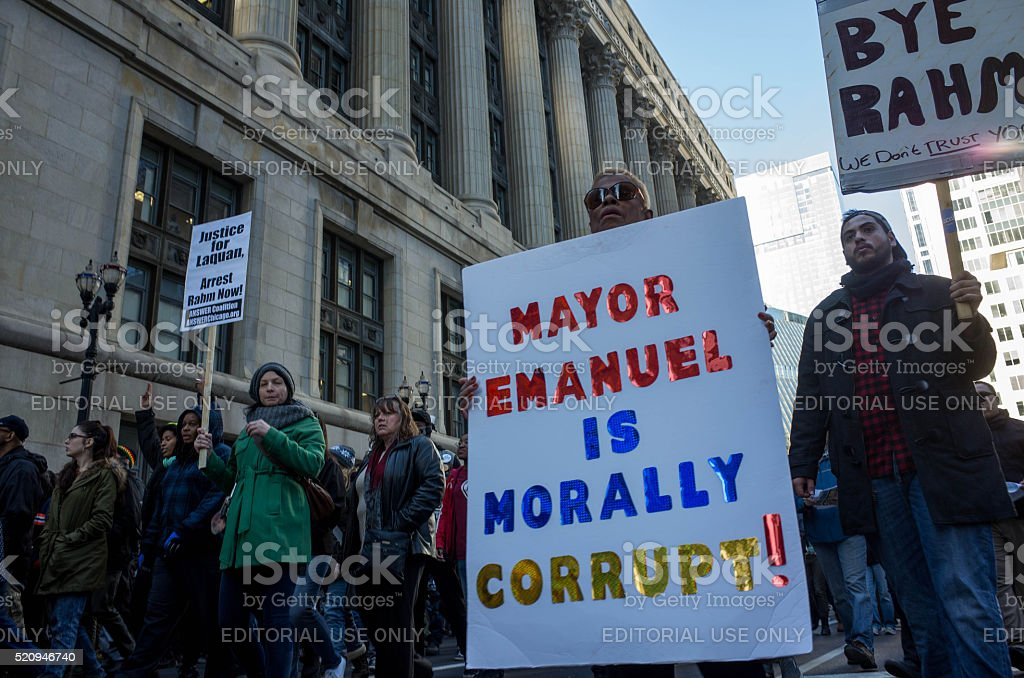 Mayor Emanuel is Morally Corrupt stock photo