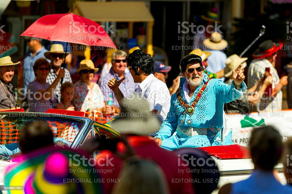 Mayor Ken Keith at Parkes Elvis Festival 2016 Street Parade stock photo