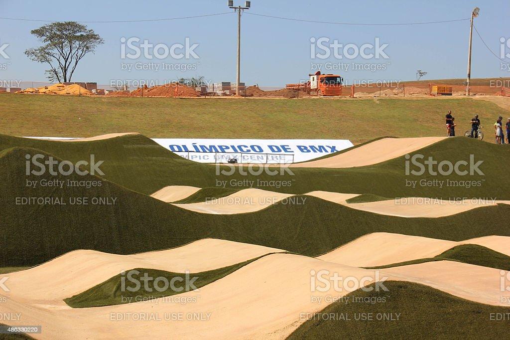 Mayor of Rio presents BMX track at Deodoro Sports Complex stock photo