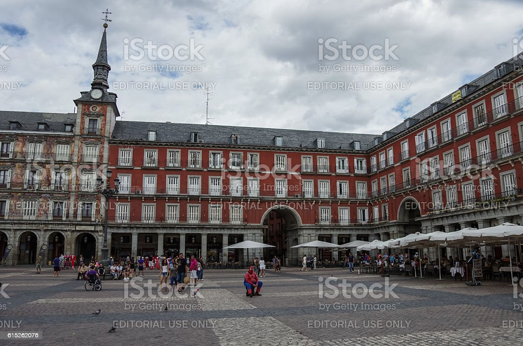 Mayor plaza in Madrid in a cloudy summer day. stock photo