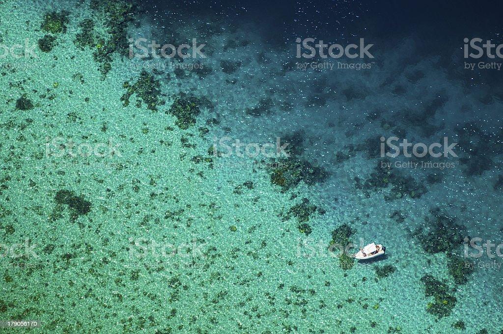 Mayotte, lagoon, aerial view, dive / Bateau, plong?e, lagon, vue a?rienne stock photo