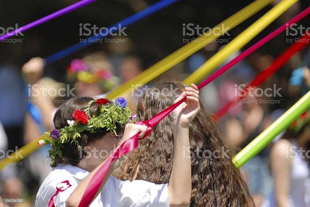 Maypole Dancer stock photo
