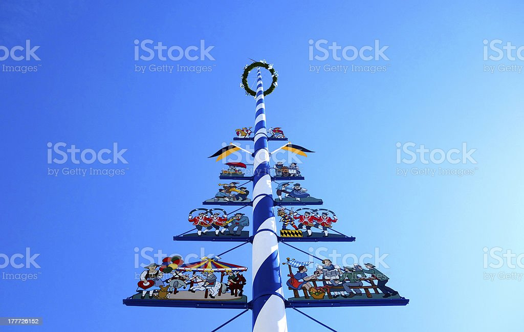 Maypole in Munich stock photo