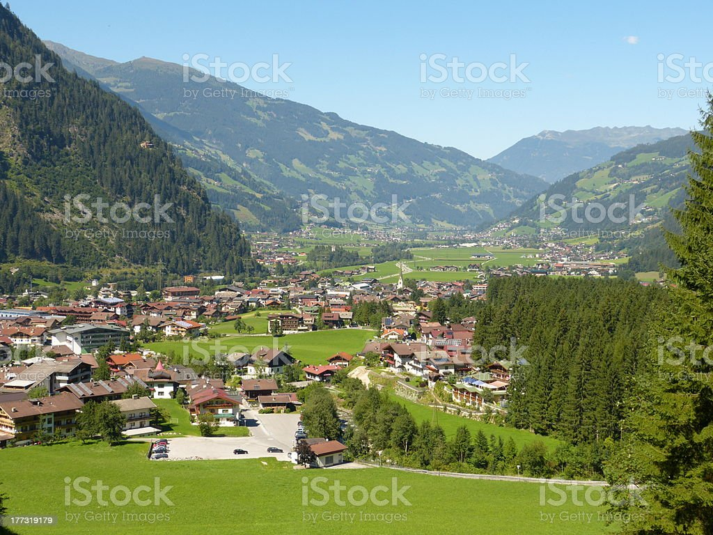 Mayrhofen in the ziller valley stock photo