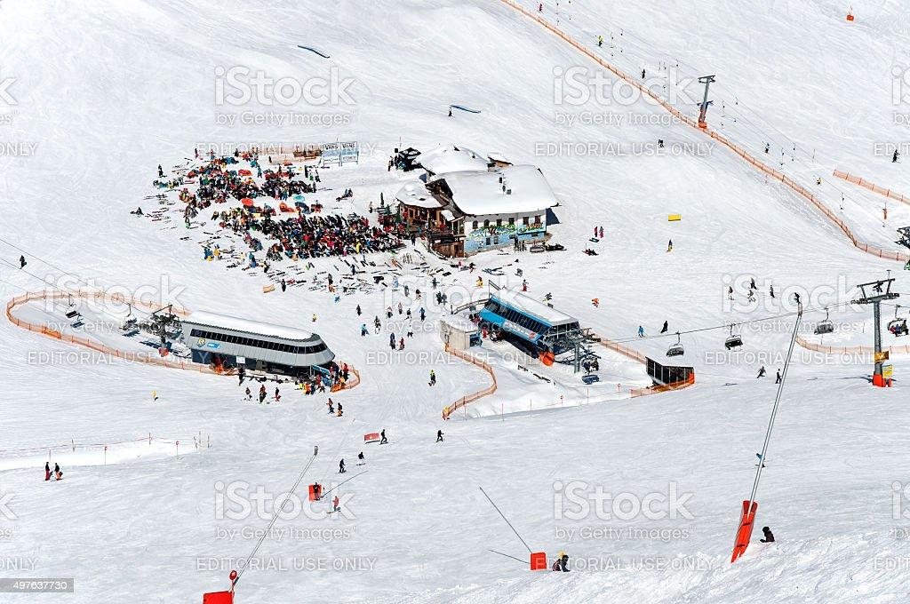 Mayrhofen ski center in Austrian Alps stock photo