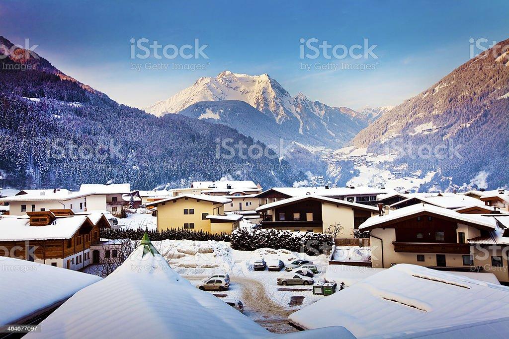 Mayrhofen winter resort in Austria stock photo