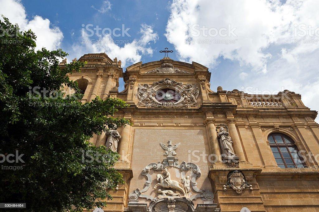 Mazara del Vallo - Baroque facade detail of the Cathedral stock photo
