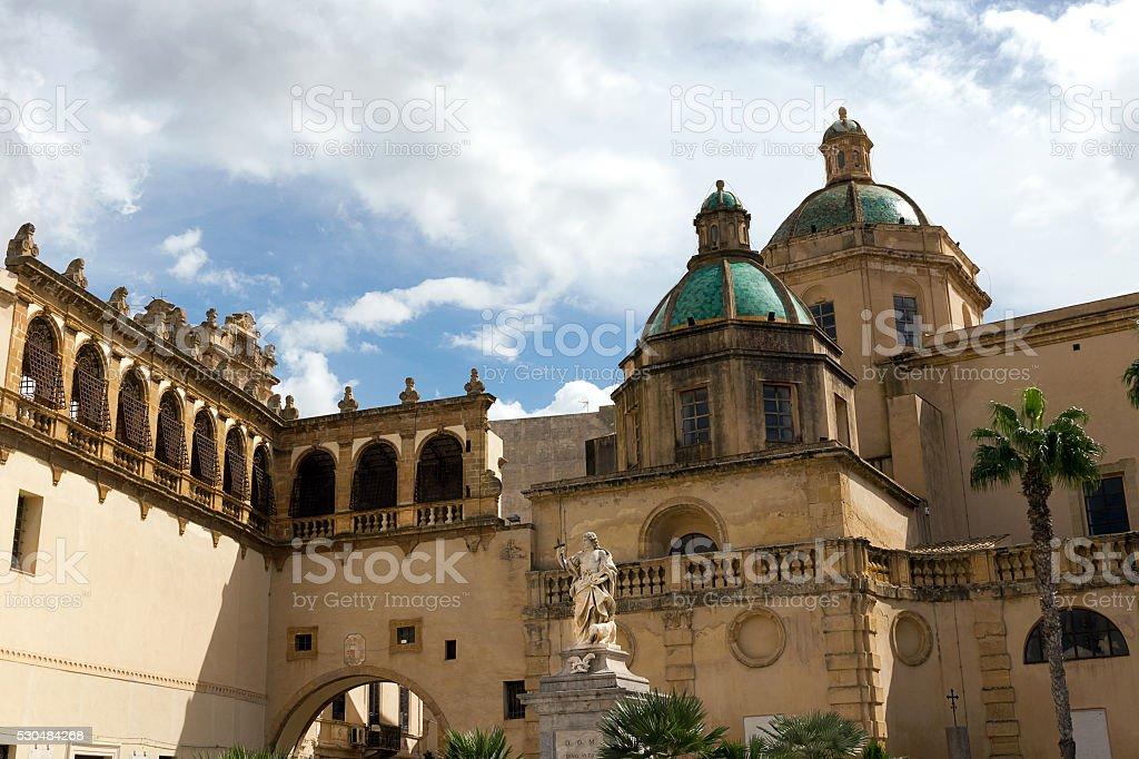 Mazara del Vallo-The Cathedral, St. Vitus statue in Republic square stock photo