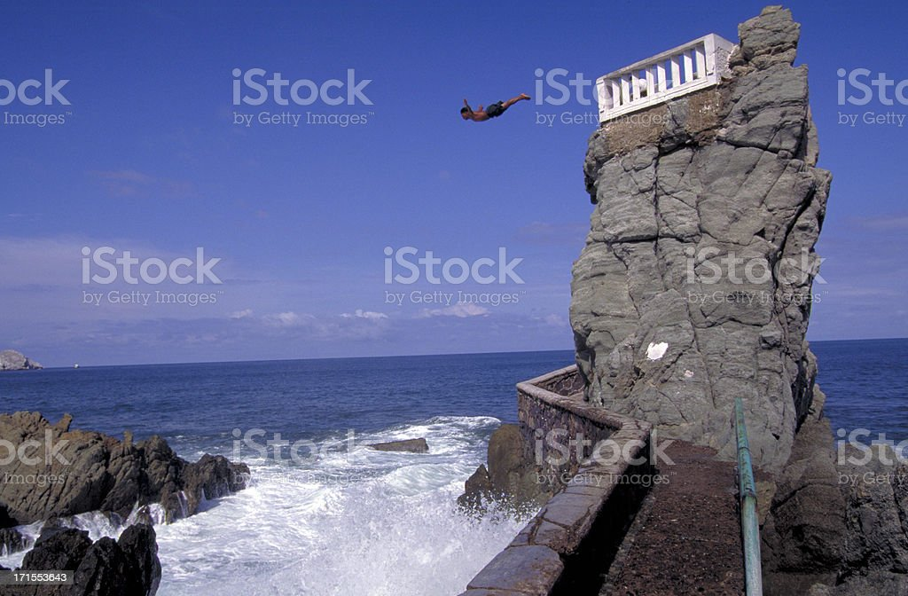 Mazatlan, Mexico cliff diver. royalty-free stock photo