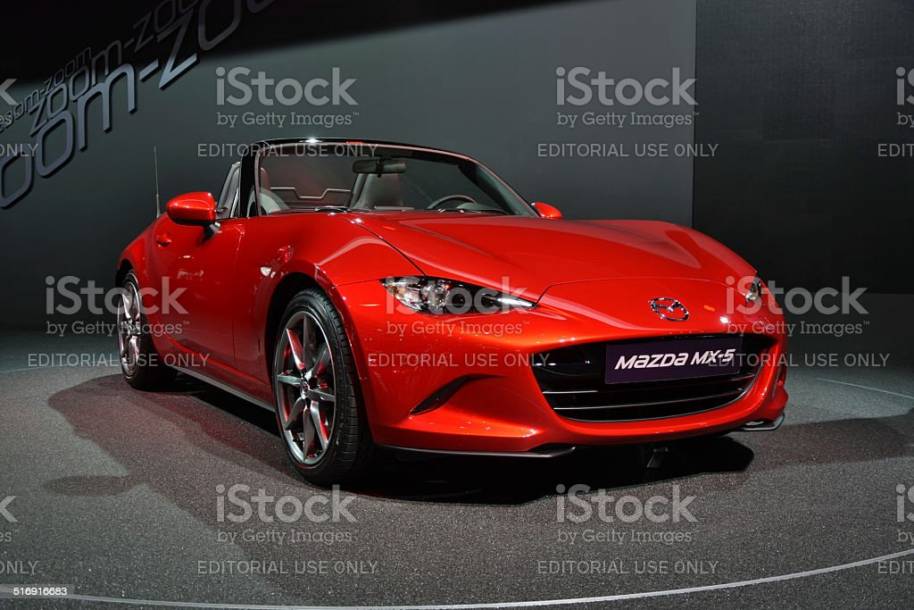 Mazda MX-5 on the motor show stock photo
