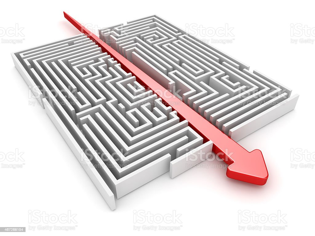 Maze and arrow stock photo