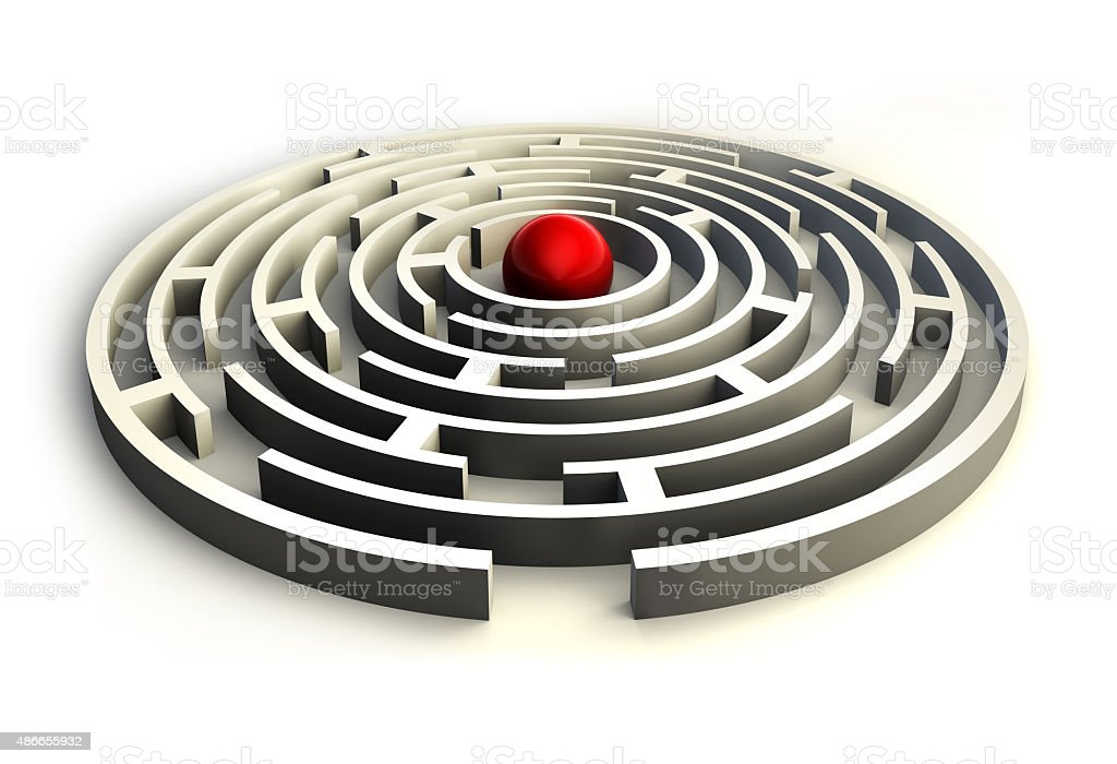 maze and red ball in the center of the labyrinth stock photo