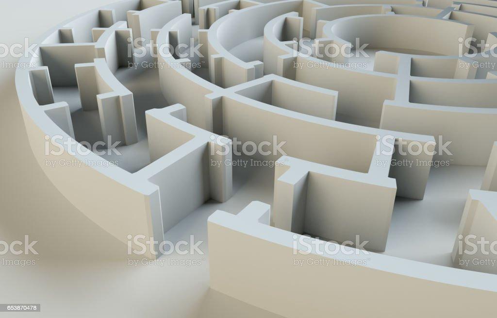 Maze close-up. Gray studio background. Beautiful photo realistic shadows stock photo