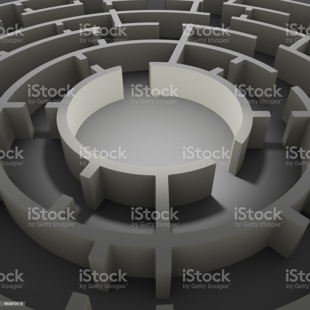 Maze close-up. Gray studio background stock photo