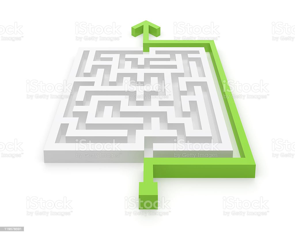 Maze Easy and Clever Solution stock photo
