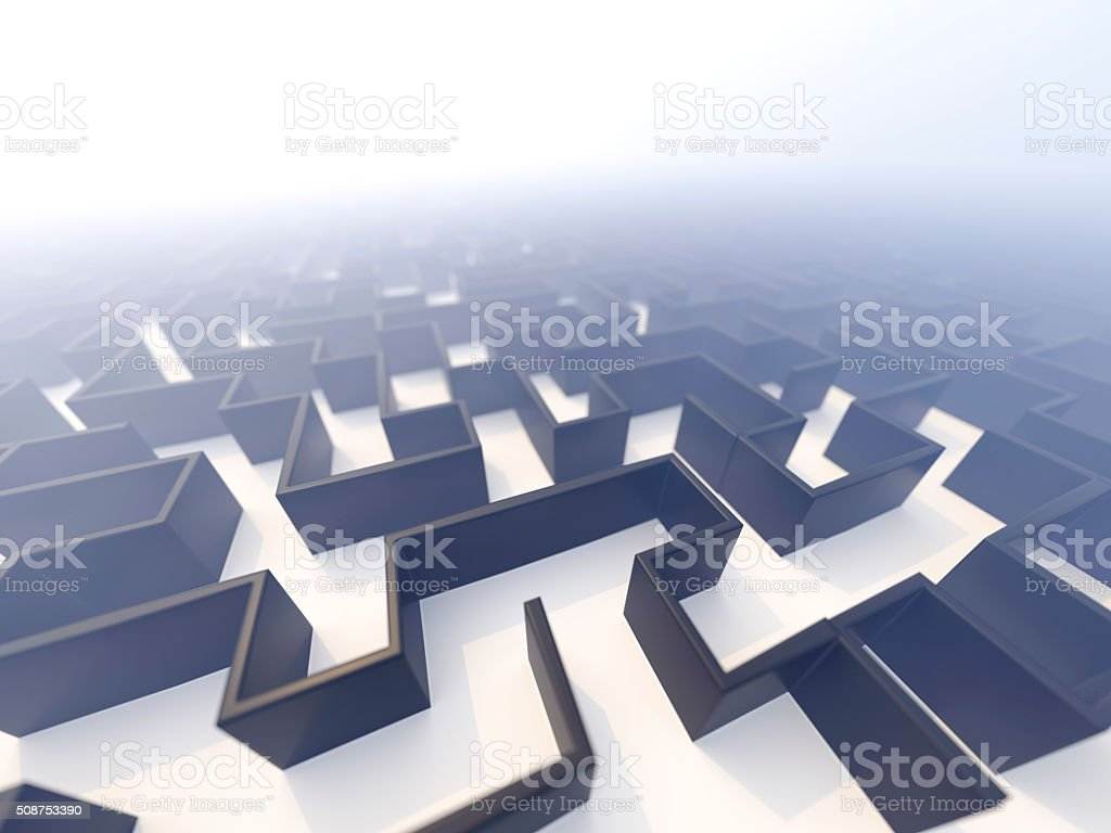 Maze foggy top low perspective stock photo