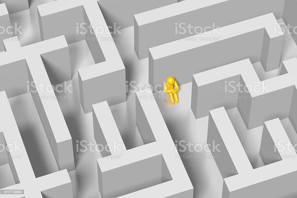 3D maze, labirynth concept stock photo