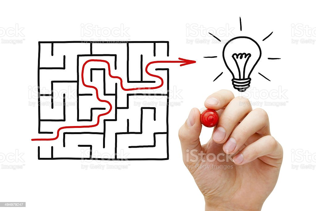 Maze Light Bulb Concept stock photo