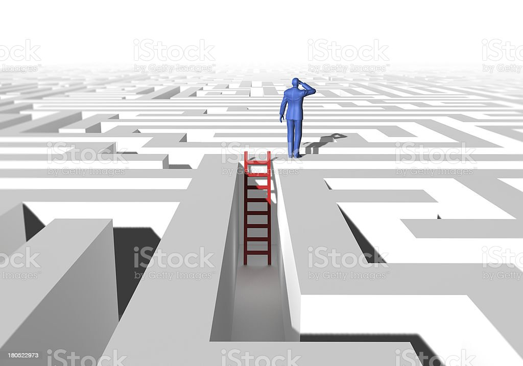 Maze, Man and Ladder royalty-free stock photo
