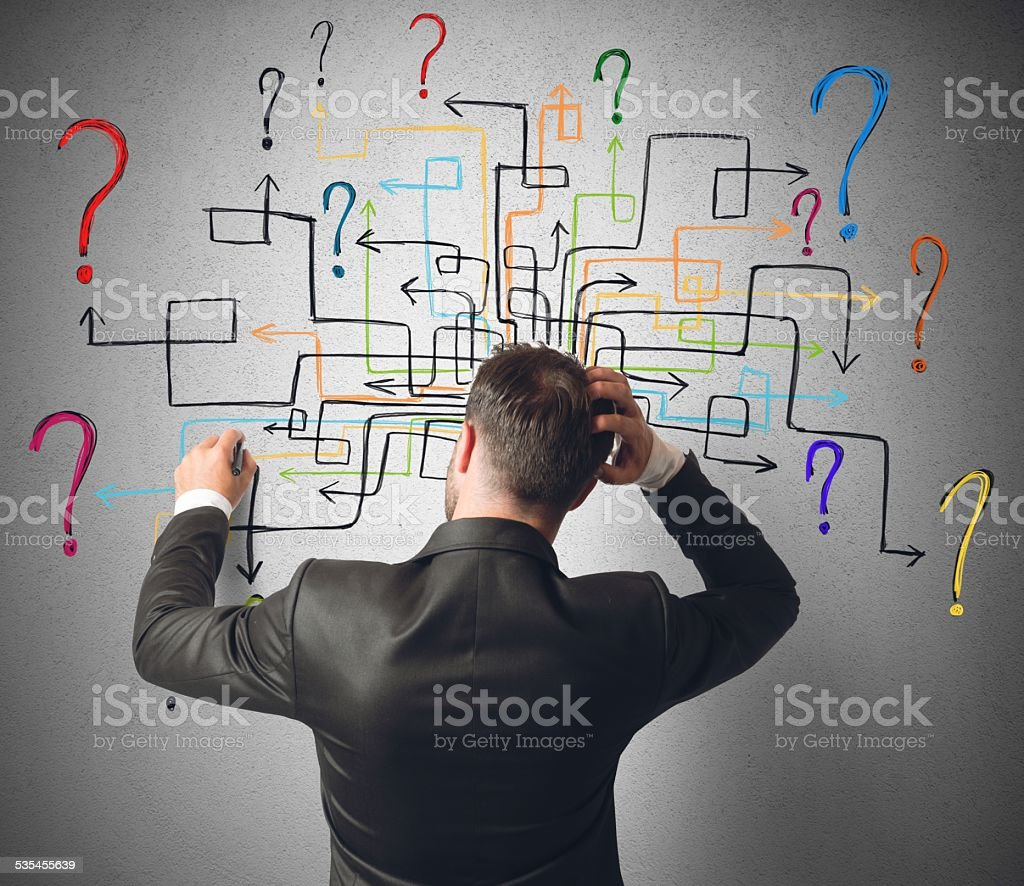 Maze of questions stock photo