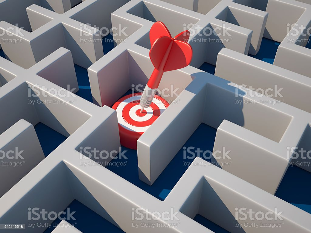 Maze on Blue Background with Target stock photo