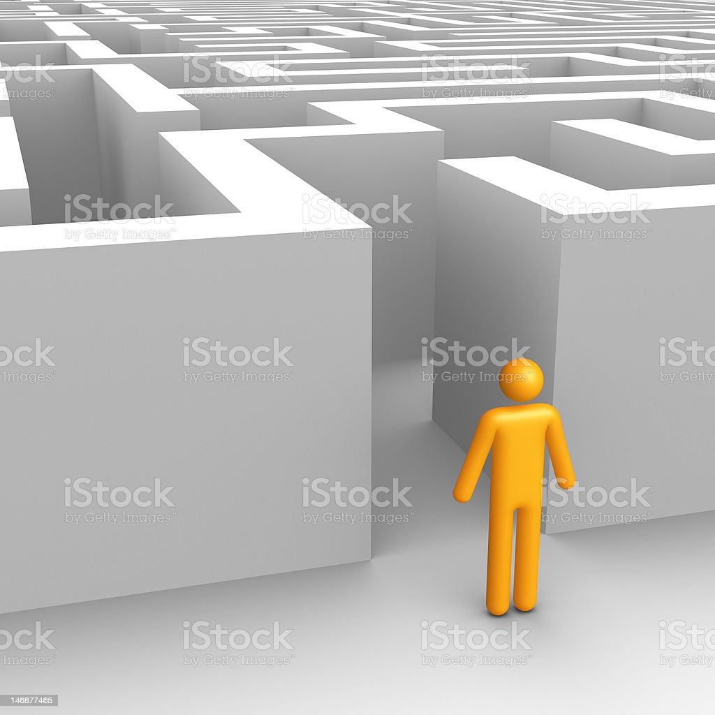 maze (isolated) stock photo