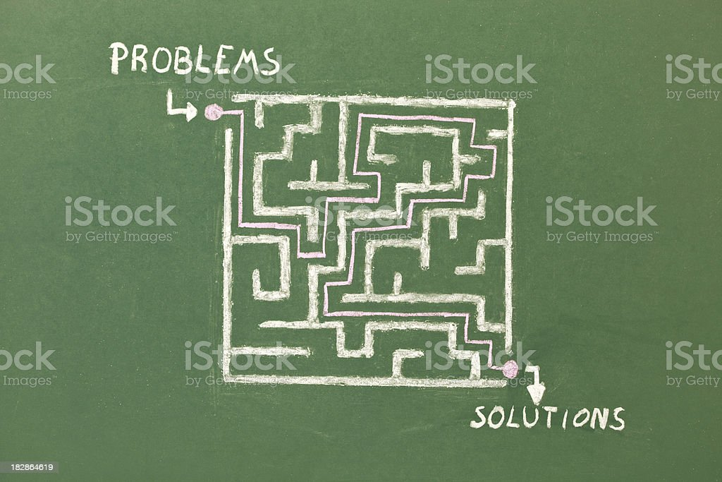 Maze: problems and solutions royalty-free stock photo