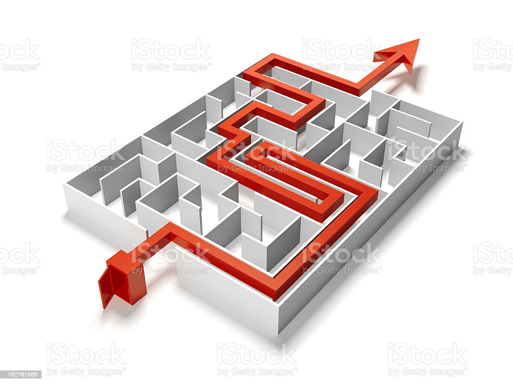 Maze Puzzle with Solution royalty-free stock photo
