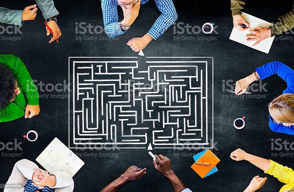 Maze Strategy Success Solution Determination Direction Concept stock photo