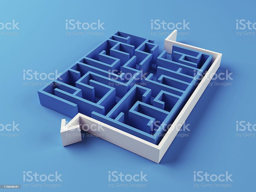 A maze with an arrow going around it instead of through it royalty-free stock photo