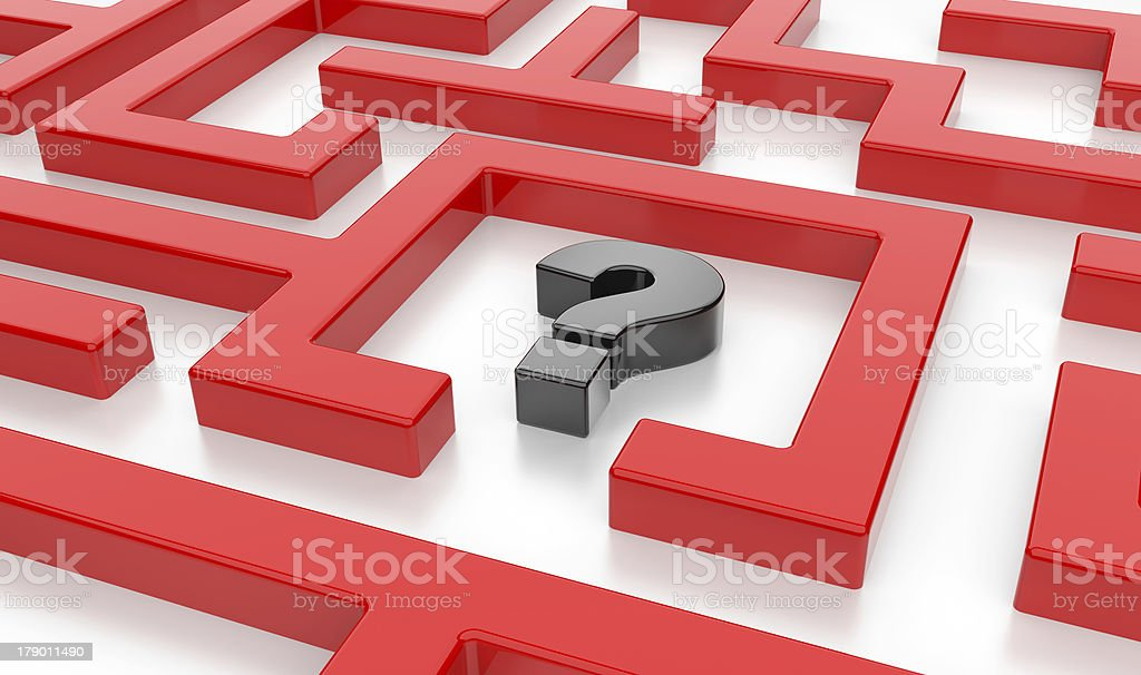 3D Maze with question sign royalty-free stock photo