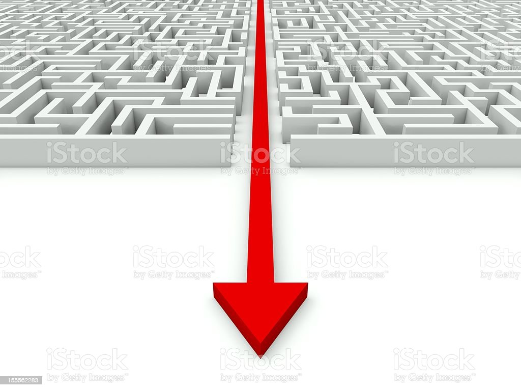 Maze with red arrow royalty-free stock photo