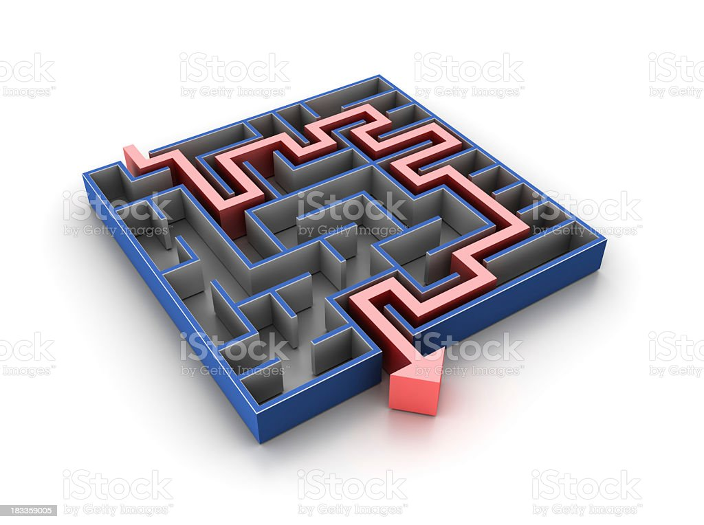 Maze with Solution Path royalty-free stock photo