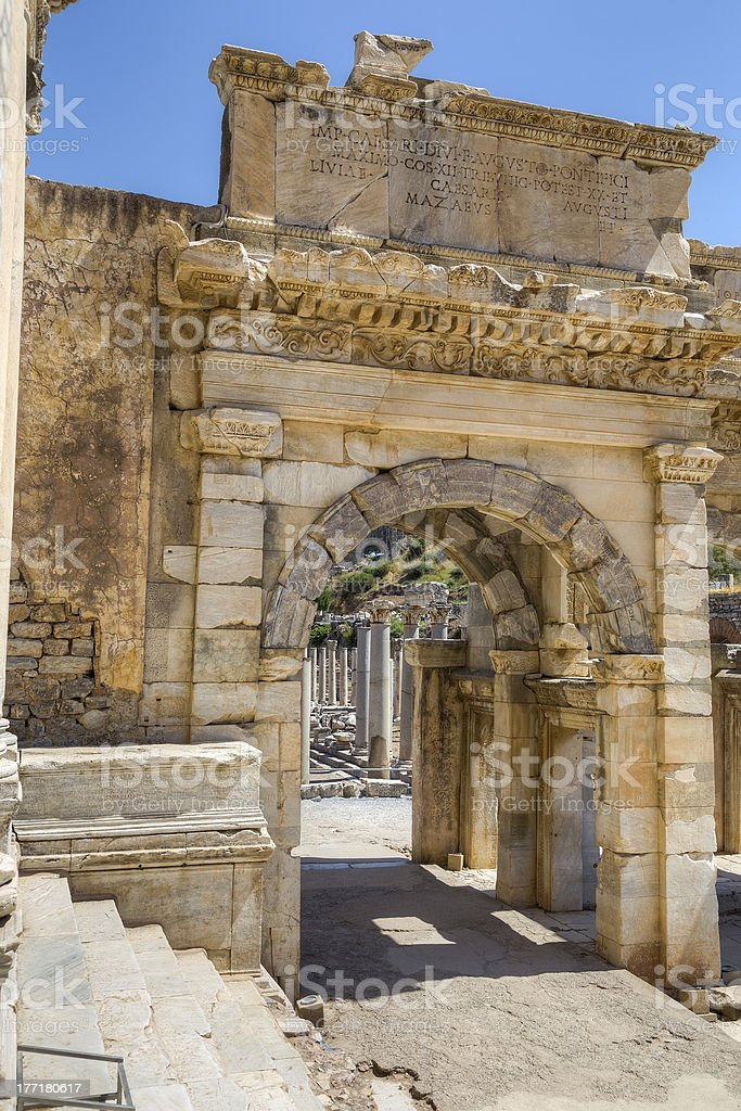Mazeus and Mithridates Gate, Ephesus, Turkey royalty-free stock photo