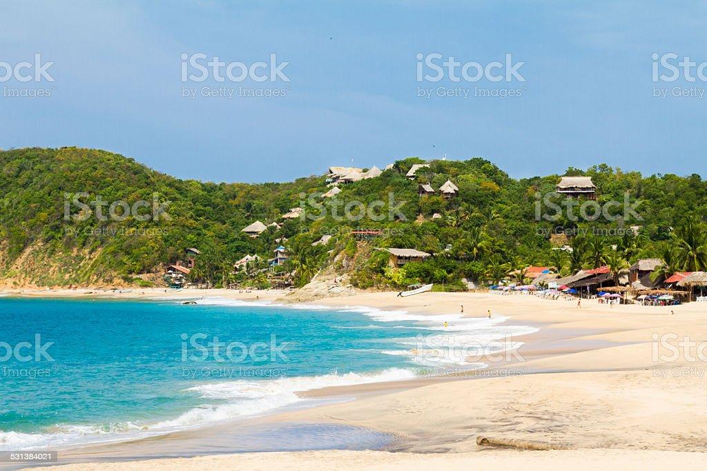 Mazunte beach in Mexico stock photo