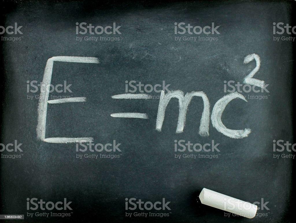 E=mc? ,  Albert Einsteins physical formula on blackboard stock photo